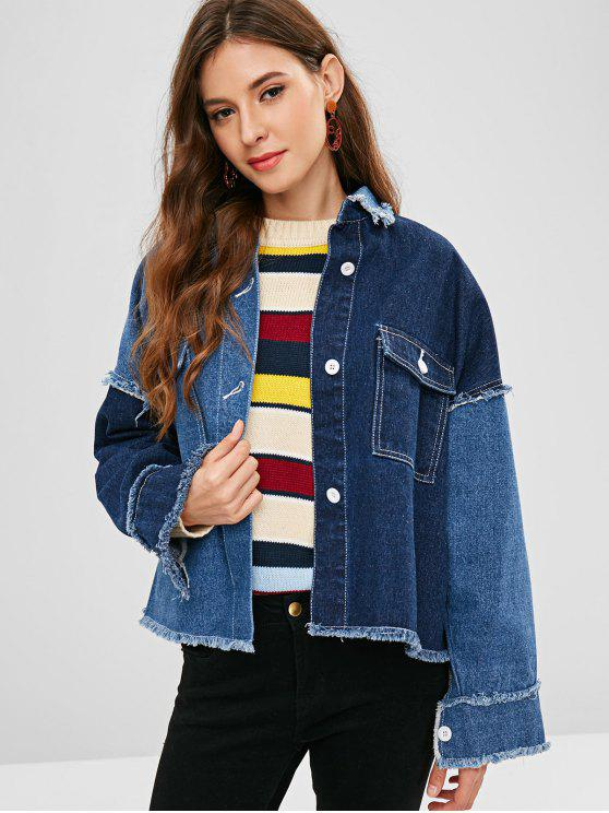 unique ZAFUL Frayed Trim Pocket Denim Jacket - DENIM DARK BLUE XL