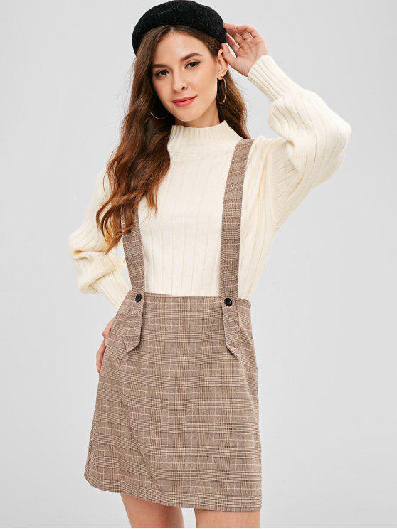 ladies ZAFUL Plaid Short Suspender Skirt - MULTI M