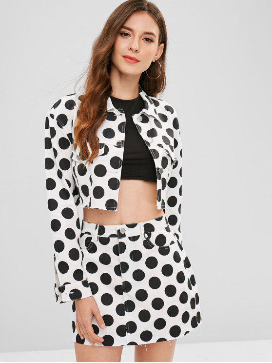 fancy ZAFUL Polka Dot Cropped Shirt Jacket - WHITE L