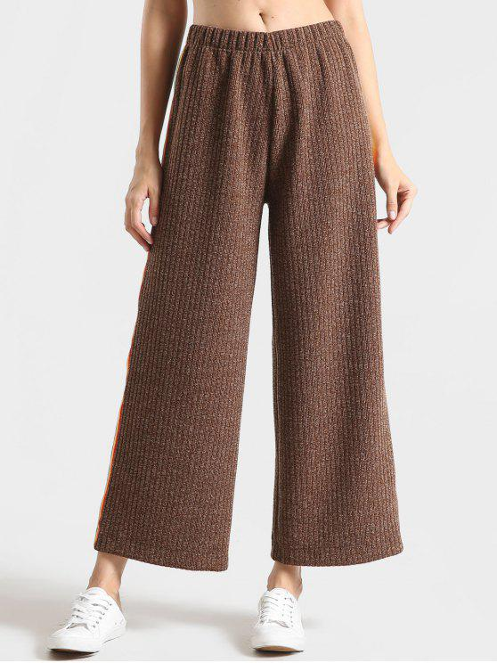 sale Heathered Ribbed Stripes Wide Leg Pants - COFFEE L
