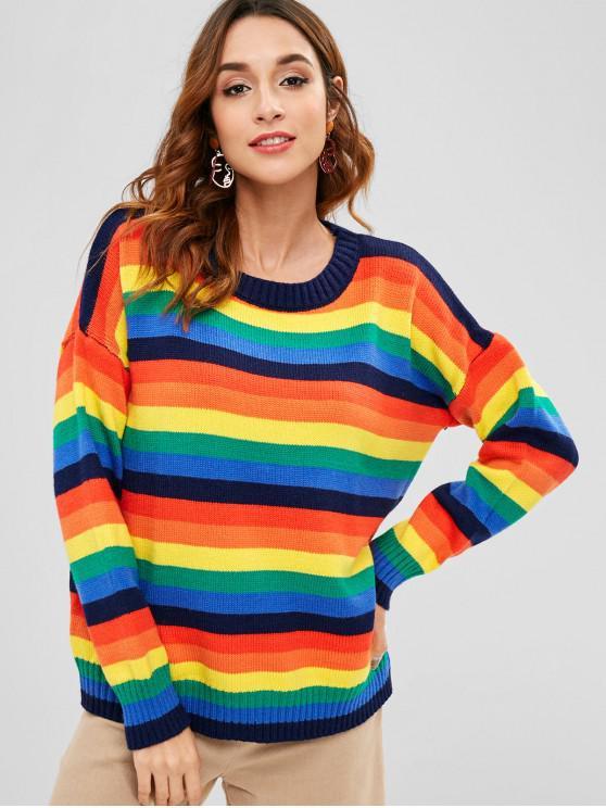 Camisola de túnica listrada de arco-íris - Multi Tamanho único