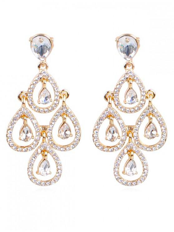 outfits Sparkly Rhinestone Water Drop Wedding Earrings - GOLD