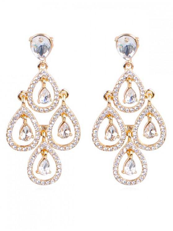 Brincos de casamento Sparkly Rhinestone Water Drop - Ouro
