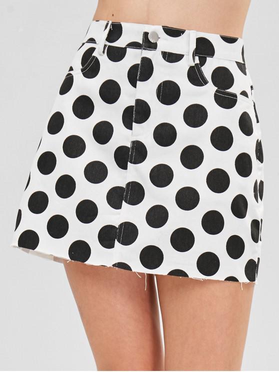 lady ZAFUL Raw Hem Polka Dot Mini Skirt - WHITE S