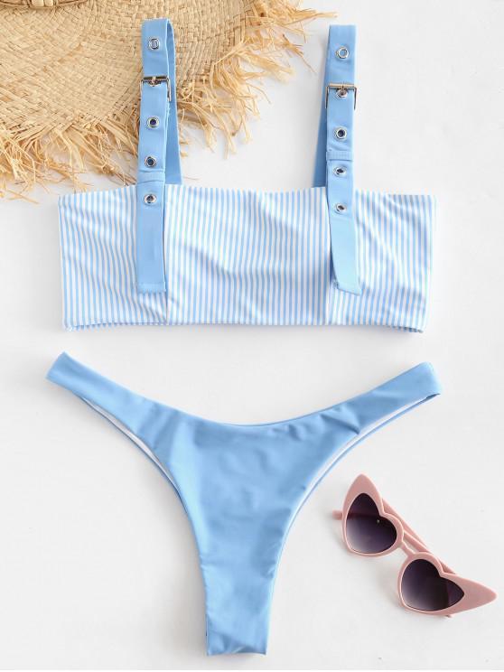 fancy ZAFUL Striped Buckle High Leg Bikini Set - LIGHT SKY BLUE S