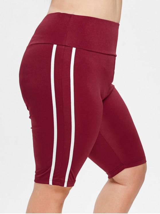 Pantalones cortos deportivos de rayas de talla grande - Vino Tinto 2X