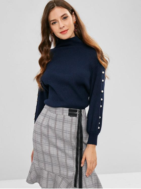 new High Neck Faux Pearl Embellished Sweater - NAVY BLUE ONE SIZE