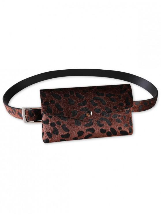 womens Unique Leopard Patter Fanny Pack Waist Belt Bag - COFFEE