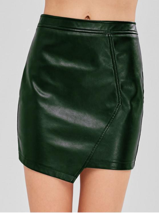 women ZAFUL Faux Leather Asymmetric Skirt - DARK GREEN L