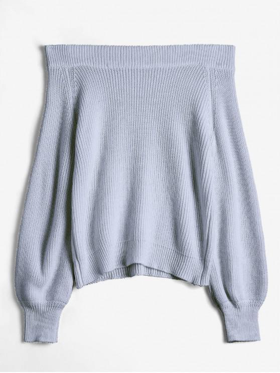 Schulterfreier Laterne Ärmel Pullover - Grau Eine Größe