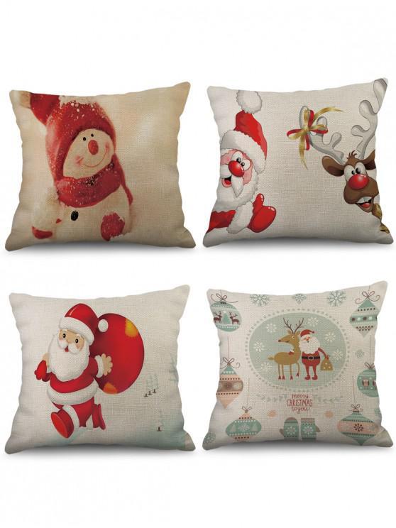 4 Pcs Christmas Theme Print Sofa Linen Pillowcases - หลาย W18 x L18 นิ้ว