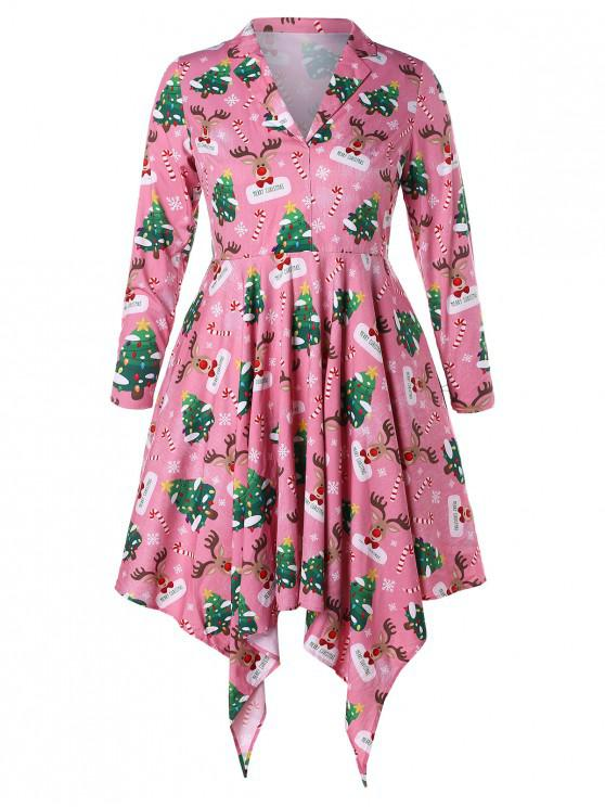 best Plus Size Christmas Tree and Elk Print Handkerchief Dress - MULTI L