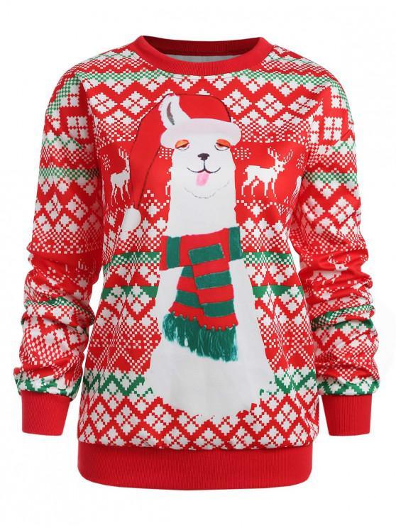 shop Christmas Geometric Plus Size Sweatshirt - RED 2X