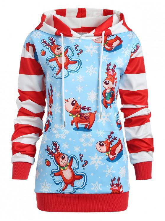 fashion Christmas Snowflake Striped Plus Size Hoodie - DAY SKY BLUE 3X