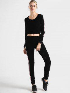 Velvet Graphic Hoodie And Pants Set - Black S