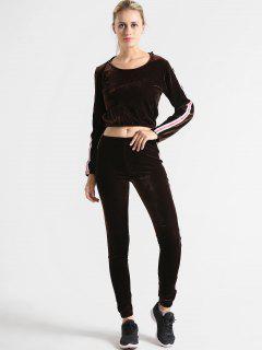 Velvet Graphic Hoodie And Pants Set - Deep Brown M