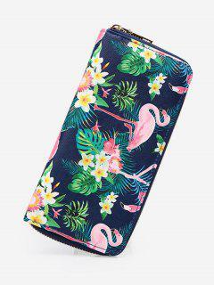 Flamingo Print Zip Around Wallet - Slate Blue
