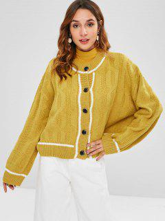 Button Front Oversized Cardigan - Mustard