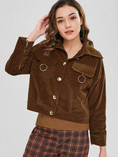 Button Up Ring Embellished Jacket - Coffee