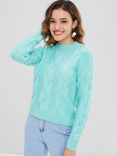 Drop Shoulder Cable Knit Casual Sweater - Light Slate