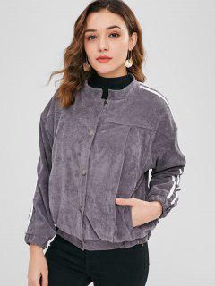 Button Up Side Striped Corduroy Jacket - Carbon Gray M