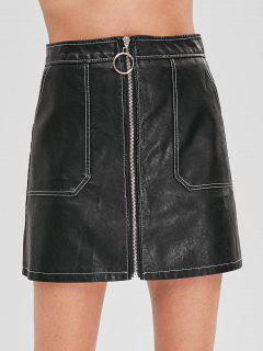 Two Pocket Faux Leather Mini Skirt - Black L