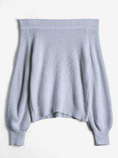 Off The Shoulder Lantern Sleeve Pullover Sweater - Gray