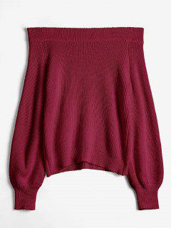 Off The Shoulder Lantern Sleeve Pullover Sweater - Firebrick