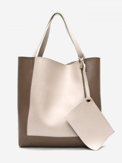Color Block 2 Pieces Shoulder Bag Set - Blanched Almond