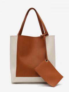 Color Block 2 Pieces Shoulder Bag Set - Brown