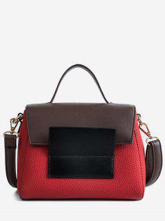 Color Block Tote Bag - Chestnut Red