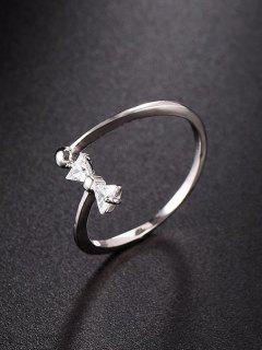 Bow Design Rhinestone Open Ring - Silver
