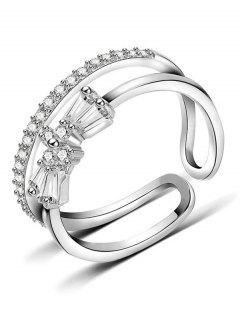 Hollow Bowknot Artificial Diamond Cuff Ring - Silver