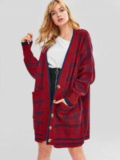 Loose Fit Button Front Stripe Longline Cardigan - Red