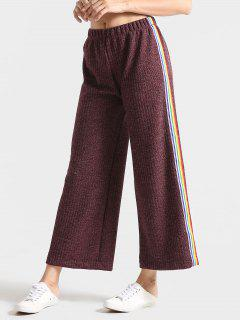 Heathered Ribbed Stripes Wide Leg Pants - Dull Purple L