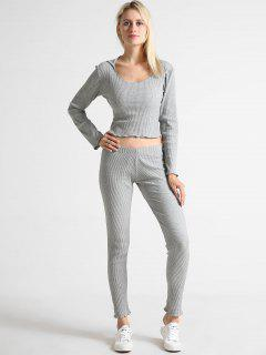 Ribbed Cropped Top And Pants Set - Gray Cloud S
