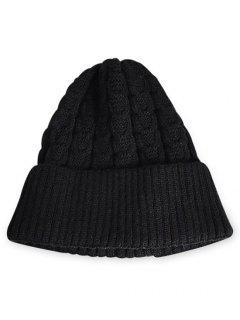 Solid Color Flanging Thick Beanie - Black
