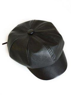 Vintage PU Leather Newsboy Cap - Black