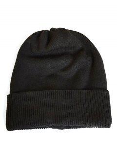 Solid Color Flanging Knitted Winter Beanie - Black