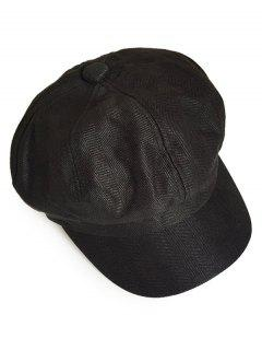 Solid Color Octagonal Cap - Black