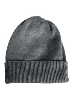 Solid Color Flanging Knitted Winter Beanie - Gray