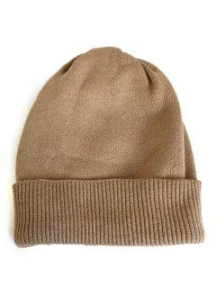 Solid Color Flanging Knitted Winter Beanie - Khaki