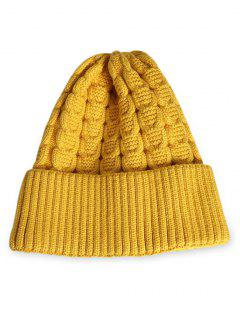Solid Color Flanging Thick Beanie - Sun Yellow