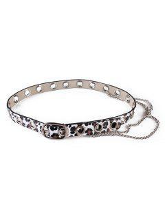 Leopard Print Rivets Chain Belt - White