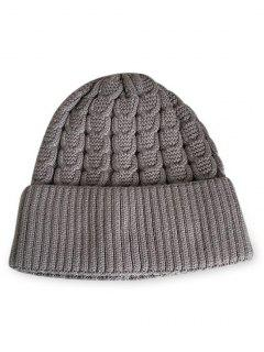 Solid Color Flanging Thick Beanie - Gray