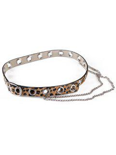 Leopard Print Rivets Chain Belt - Camel Brown