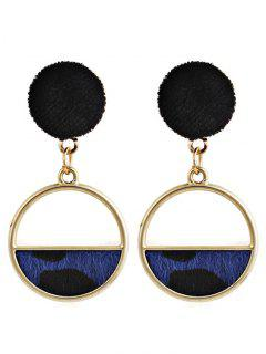 Hollow Out Round Leopard Drop Earrings - Blue