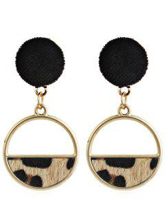 Hollow Out Round Leopard Drop Earrings - Light Brown