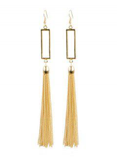 Geometric Fringed Hook Earrings - Gold