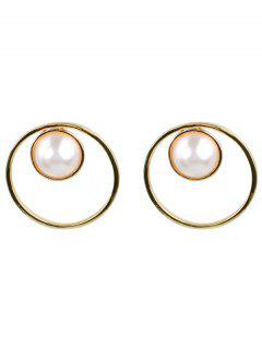 Stylish Faux Pearl Round Earrings - Gold